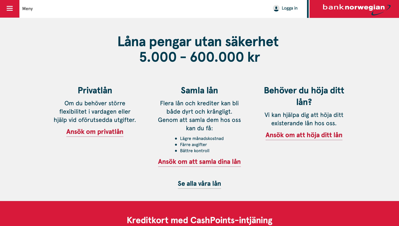 Privatlån från Bank Norwegian
